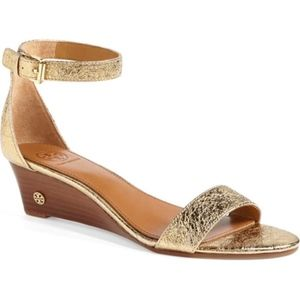 Tory Burch Savannah'  gold Wedge Sandal